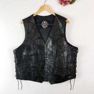 [LONGRIDER] 100% Leather Motorcycle Vest